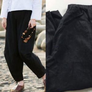 Flax Linen Pants Black Medium Lagenlook